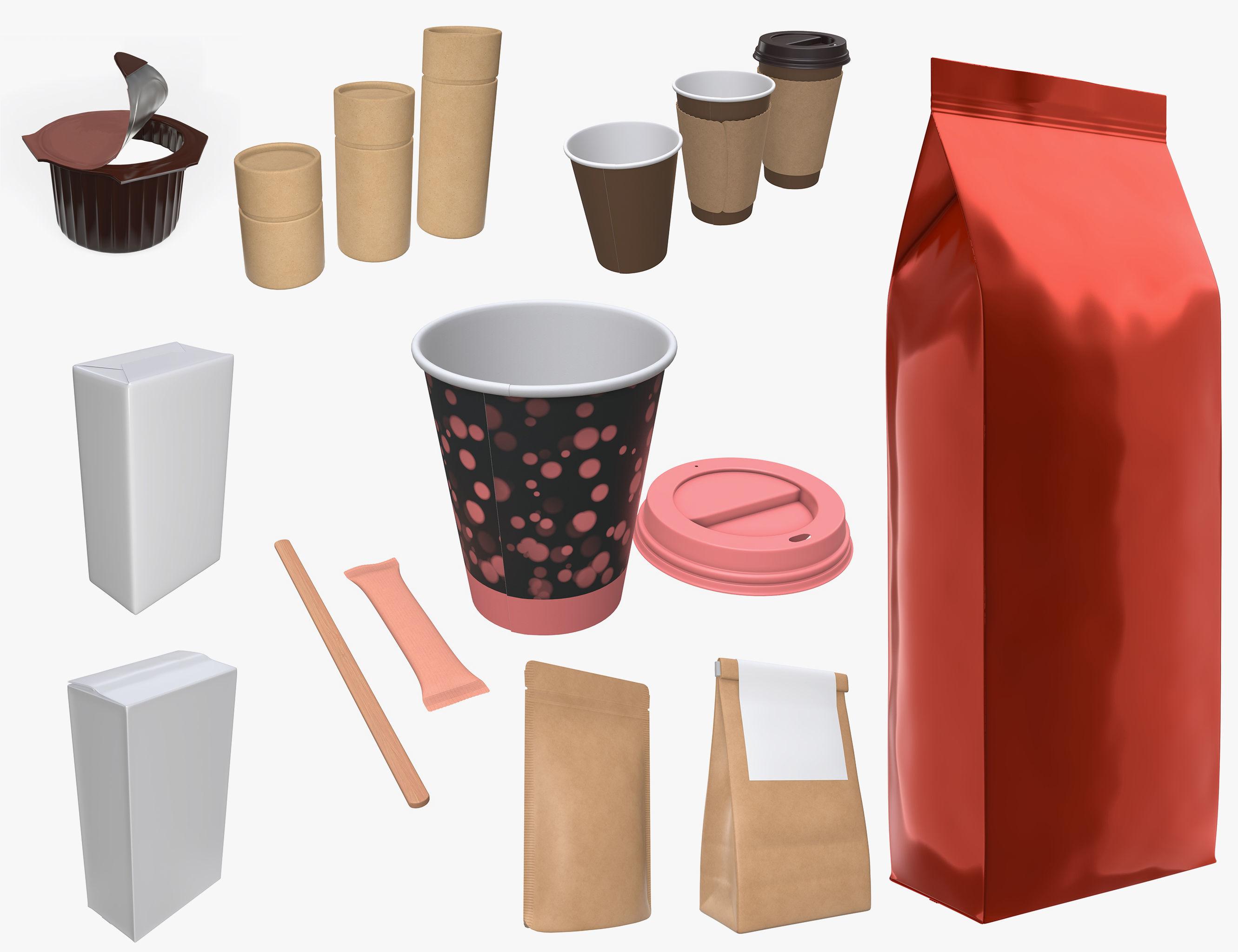 Coffee pack cup lid paper packaging sugar sachet foil bag sticks