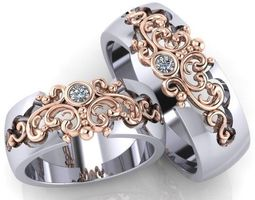 3d print model beautiful wedding bands with stones