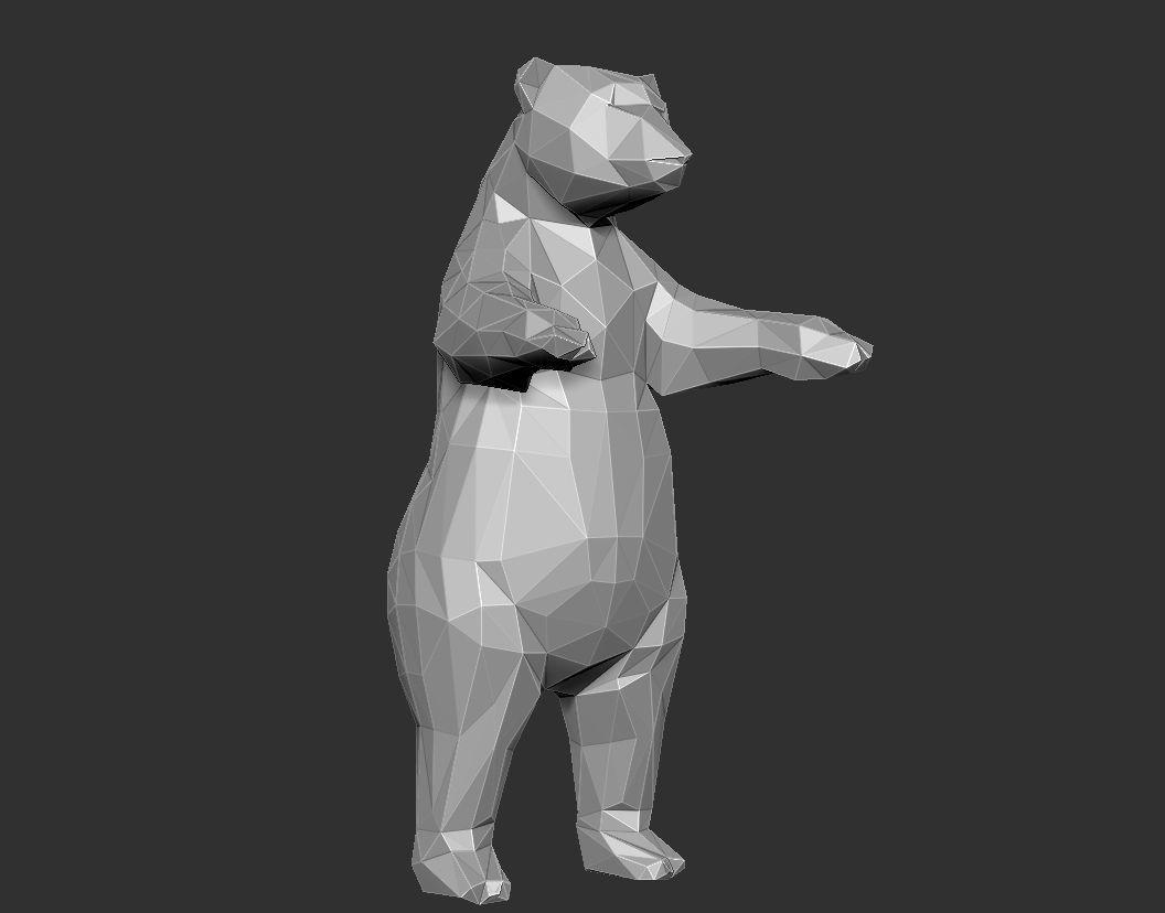 Bear Grizzly low Polygon