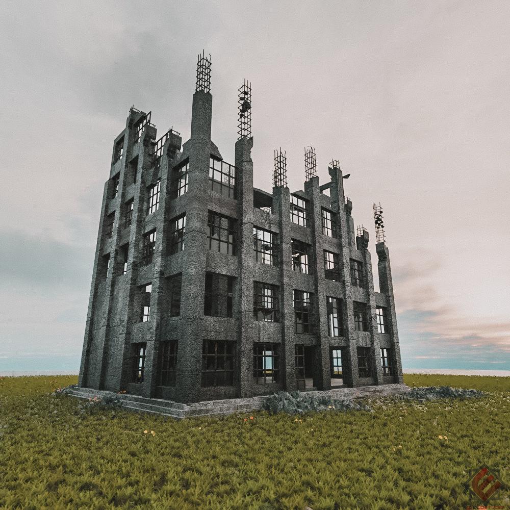DESTROYED BUILDING OLD ABANDONED 3D Model