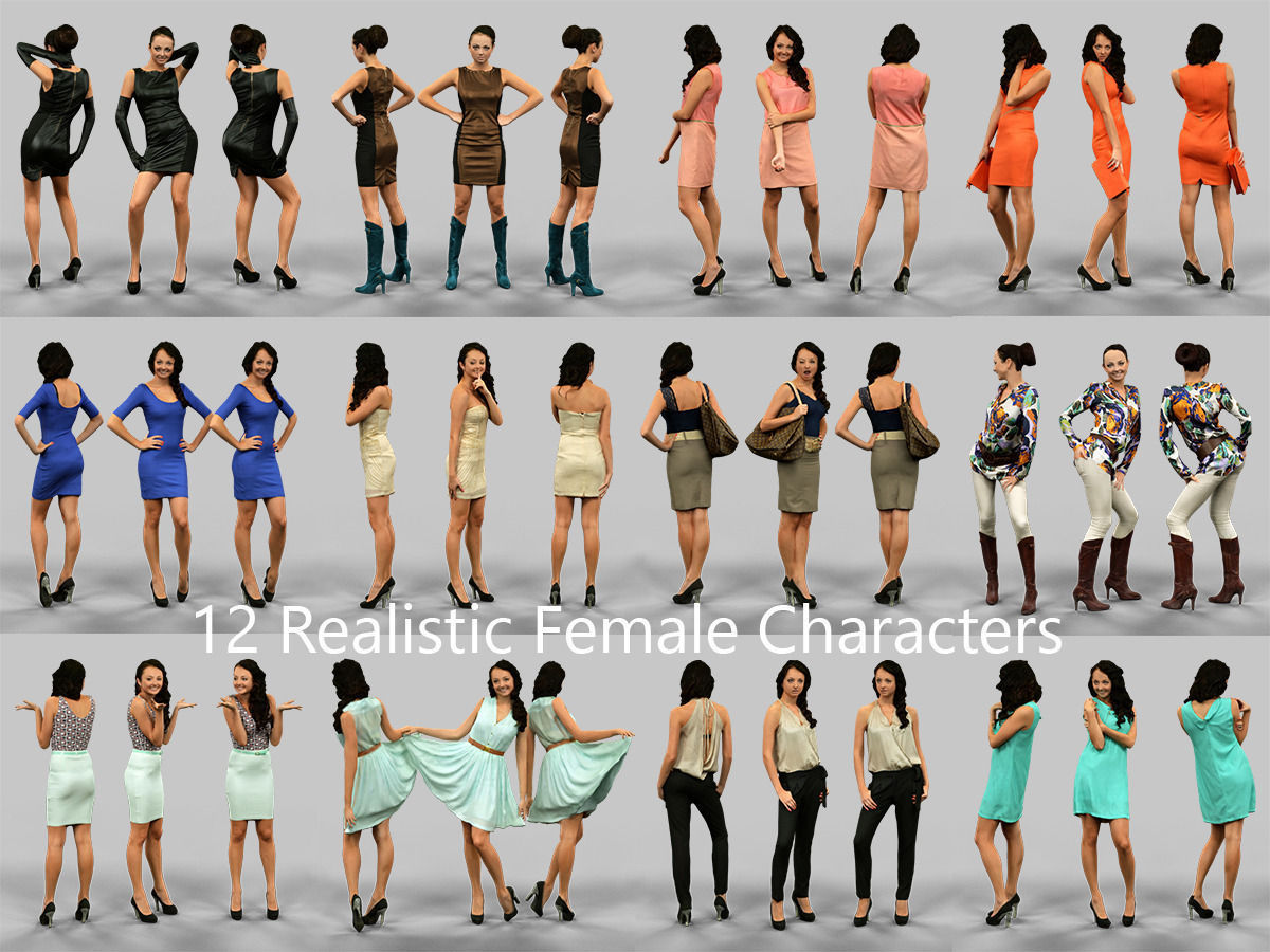 12 realistic female characters 3d cgtrader