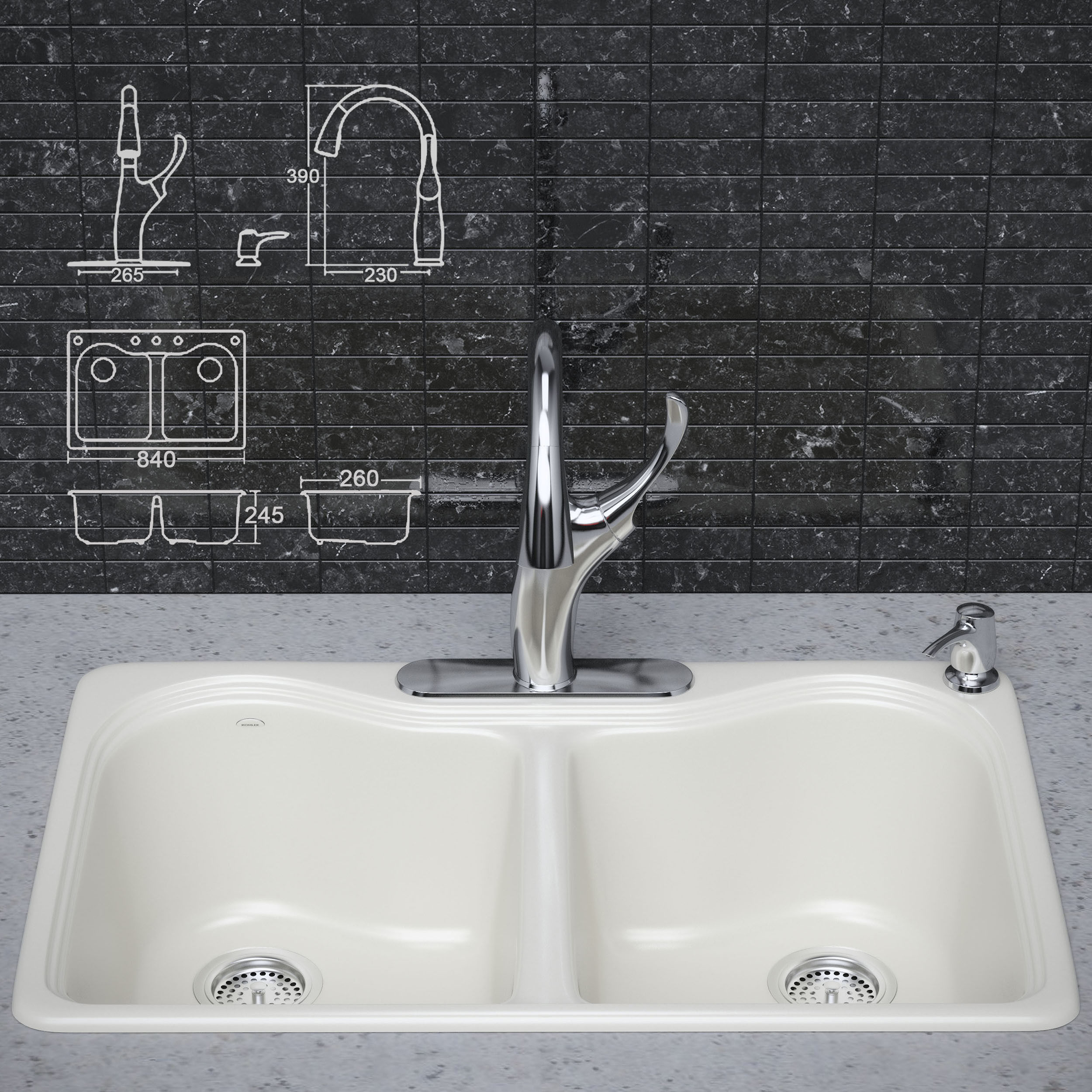 Kitchen faucet and sink KOHLER 3D Model MAX MAT CGTrader.com