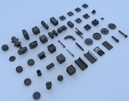 3d model game-ready technical parts collection 3