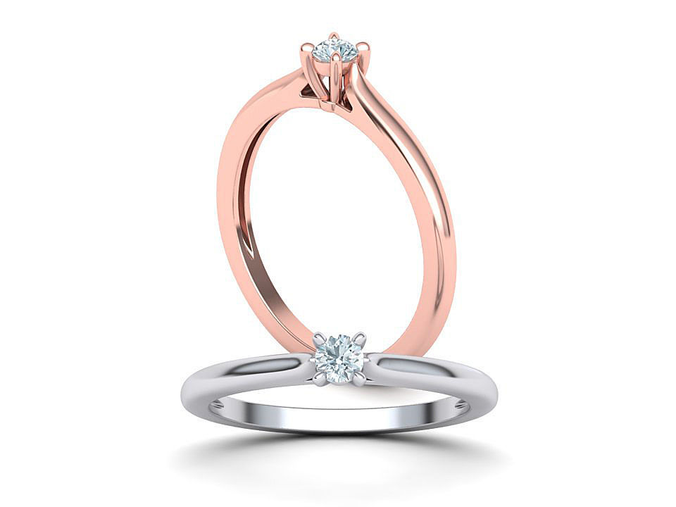 Classic Solitaire ring 3mm round stone 4prong setting