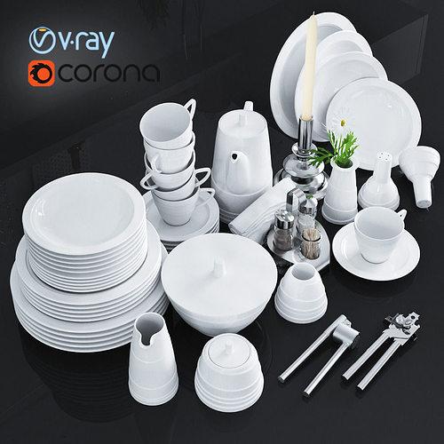 a set of dishes and kitchen appliances 3d model max obj mtl fbx 1