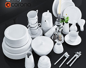 A set of dishes and kitchen appliances 3D model