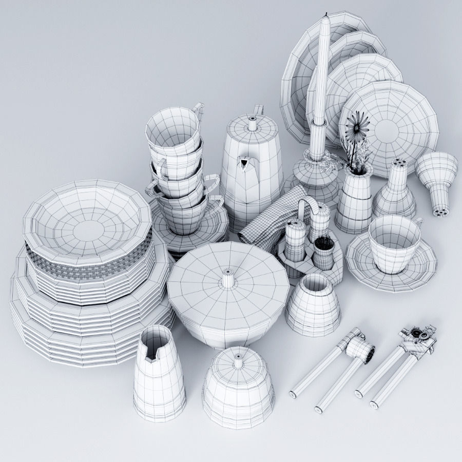 3d model a set of dishes and kitchen appliances vr / ar / low-poly