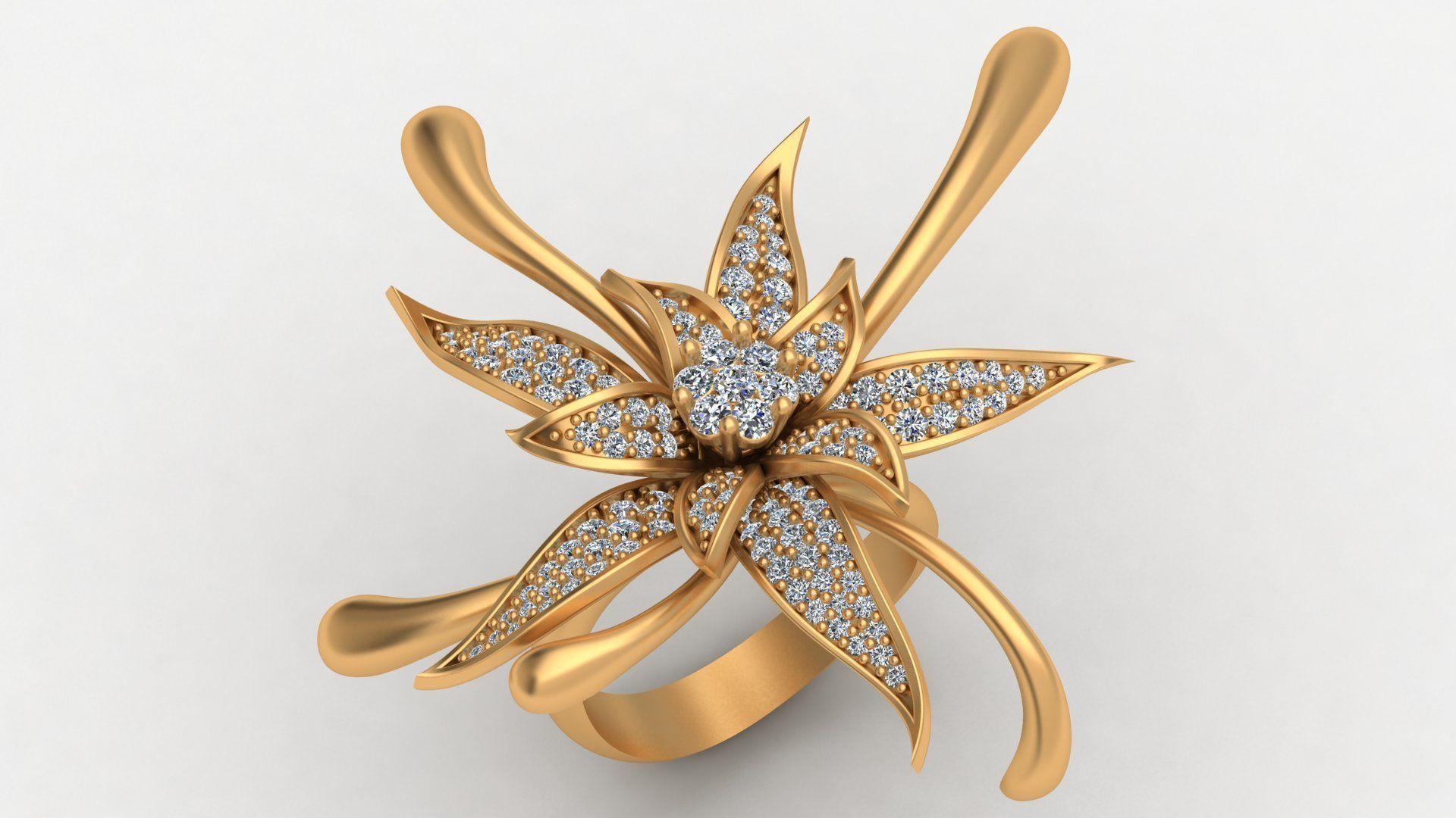 Big Rose Flower Diamond Gold Ring