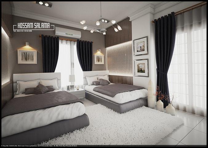 Modern bedroom scene 3D model 3D model Bed room 2