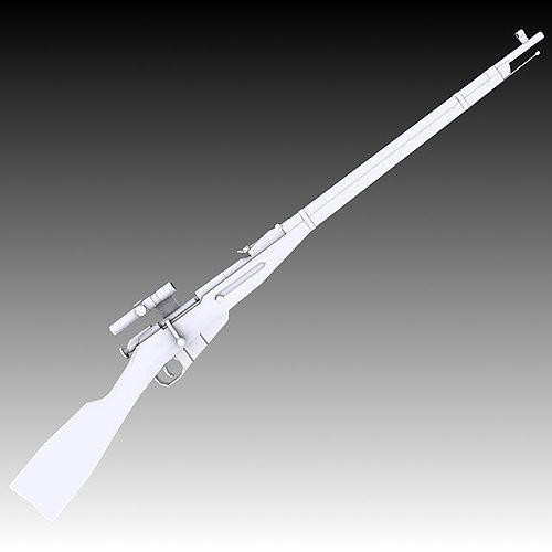 m91 30 mosin nagant with pu scope 3d model max obj mtl 3ds c4d stl wrl wrz 1