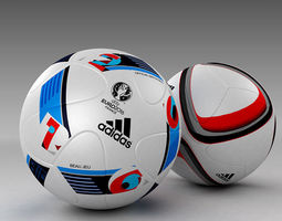 3d model set of official adidas beau jeu and qualification balls