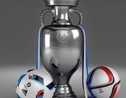 3d model set of uefa 2016 european championship cup and balls