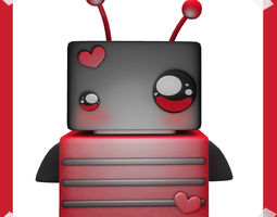 3d asset game-ready cute ladybug robot model in many colours animated