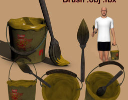 rigged 3d model grease bucket and brush ob fbx