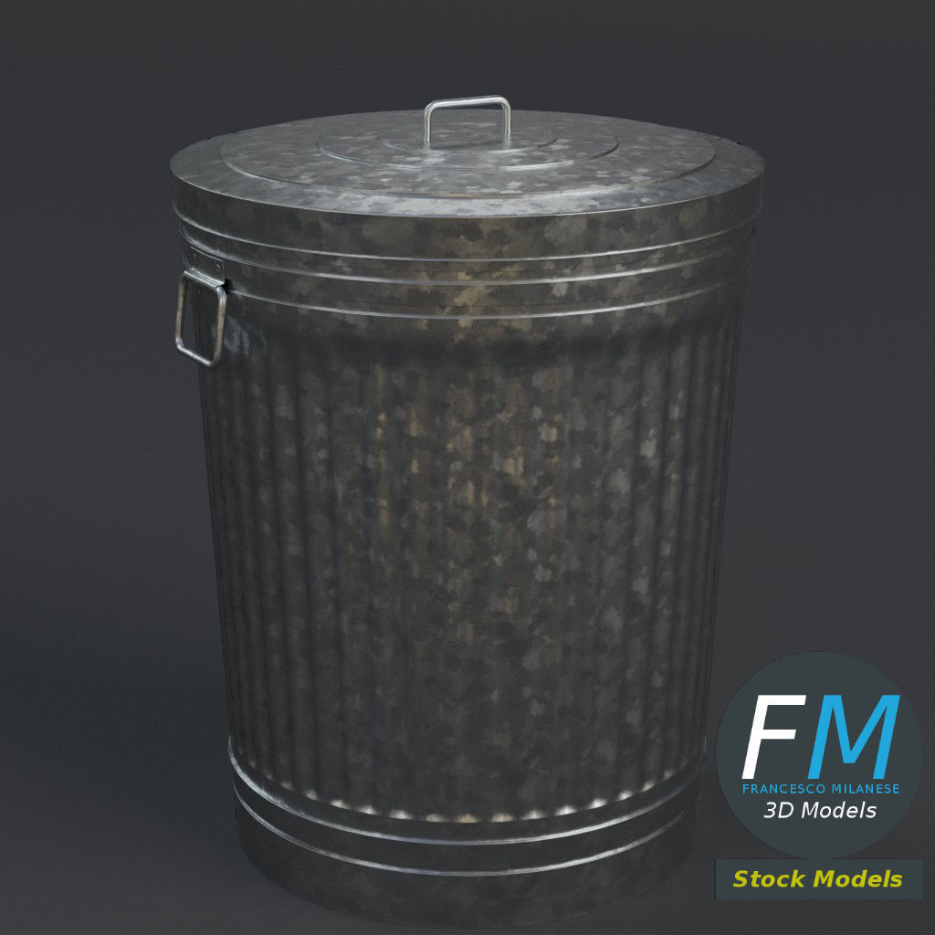 Metallic trash can closed