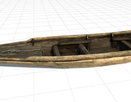 low-poly old boat 3d model PBR