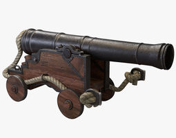 naval cannon game-ready 3d model