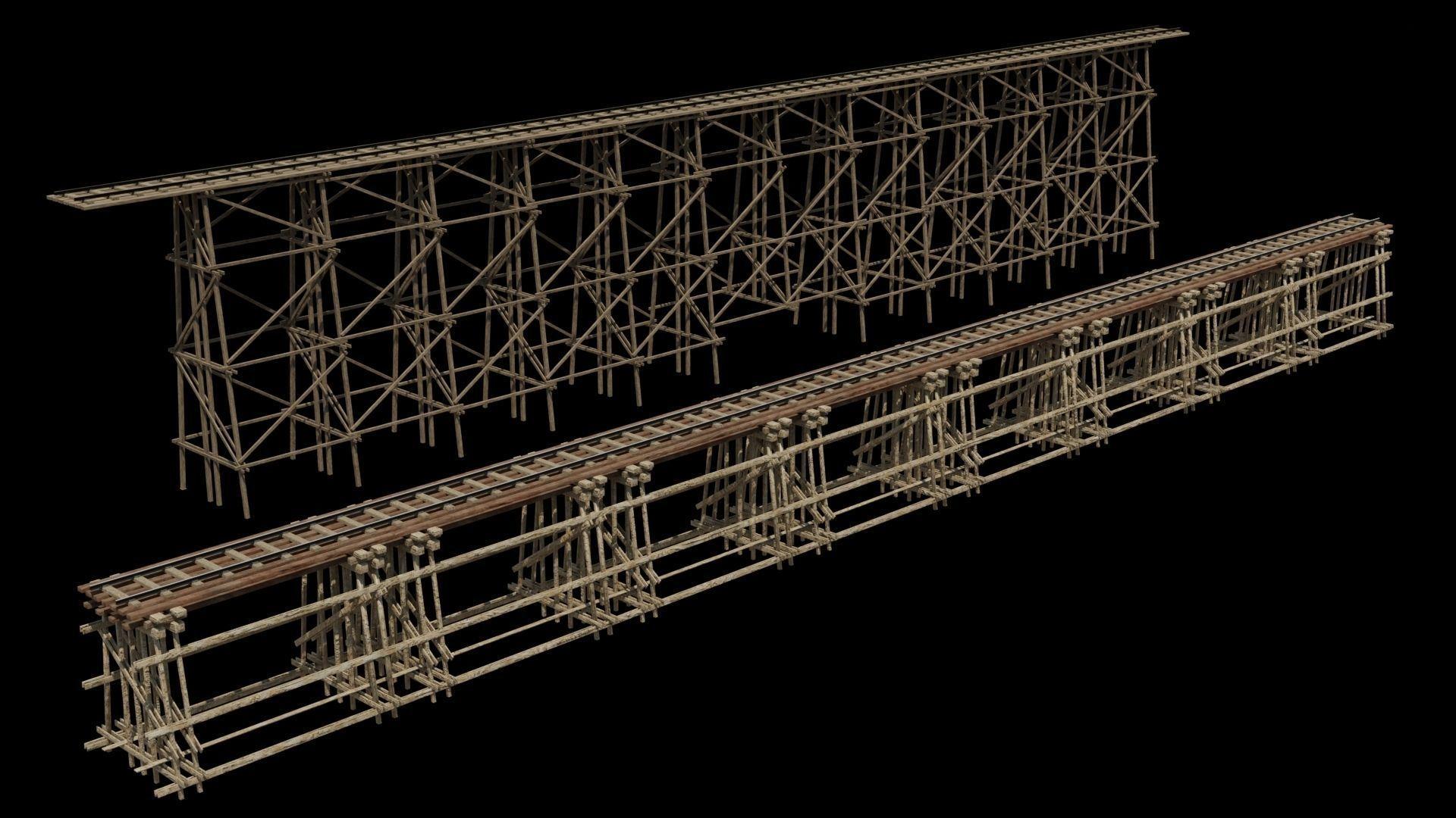 Two models 3D Wood trestle bridge and rail tracks