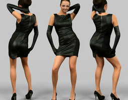realtime girl in leather dress and gloves 3d asset