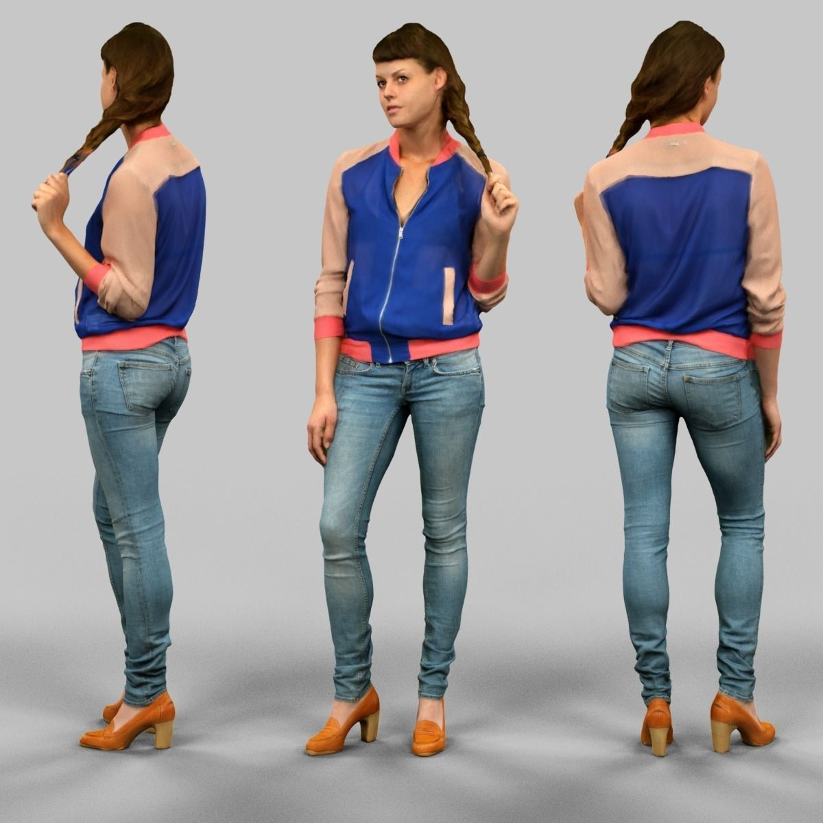 Girl in blue vest and jeans