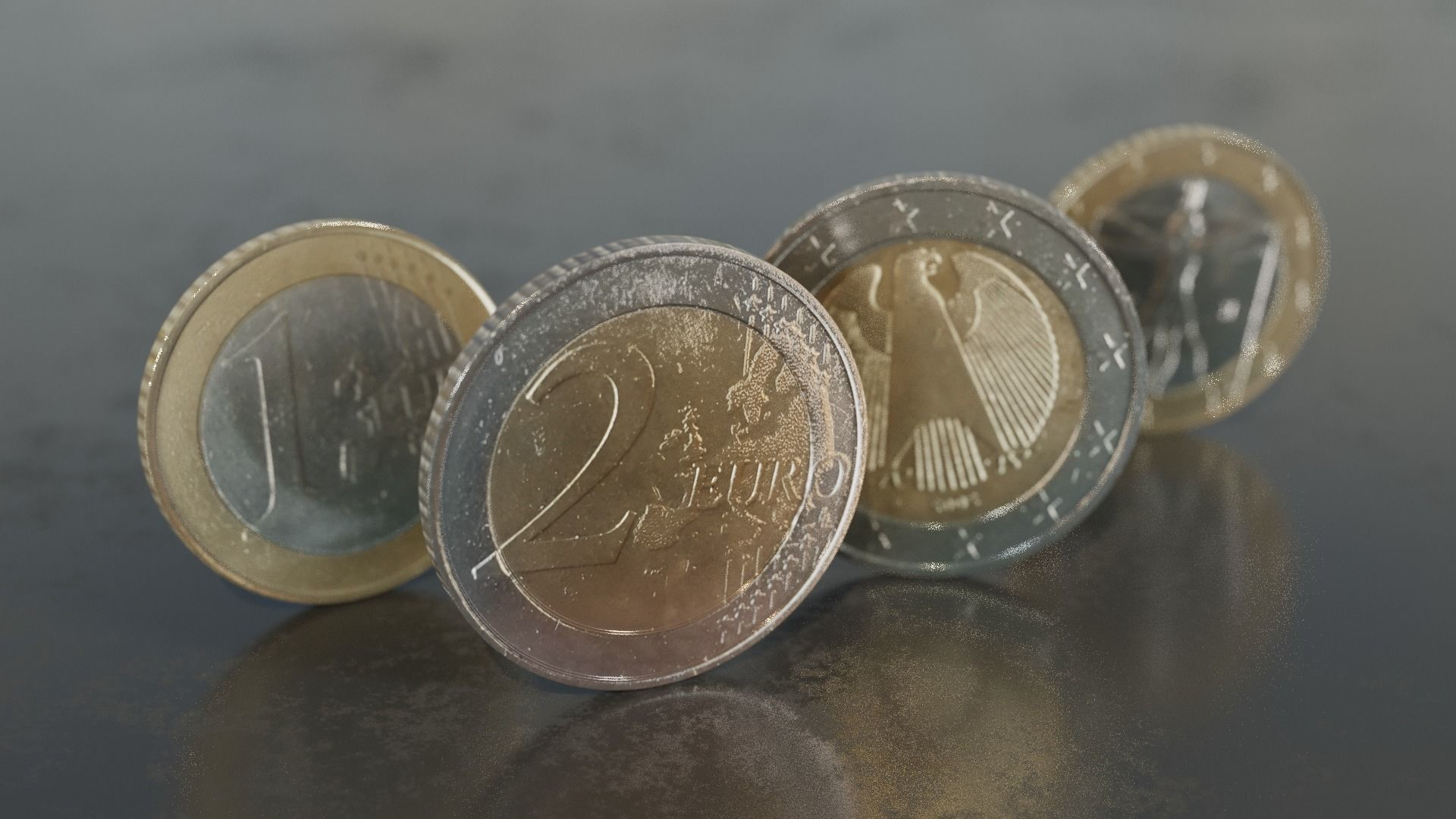 one and two Euro coins