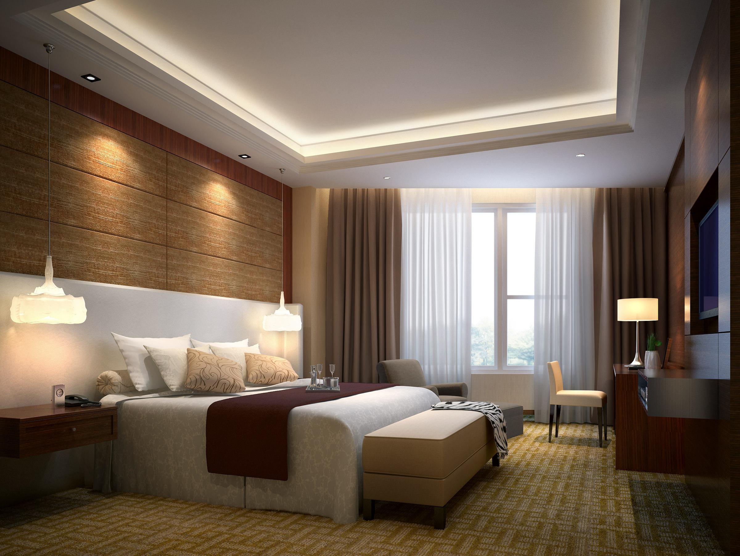 hotel bedroom 3d model max 1