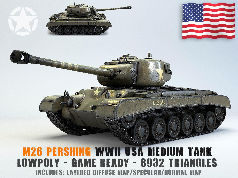 Low Poly M26 Pershing Medium Tank
