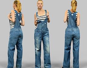 Girl in jeans salopet 3D model