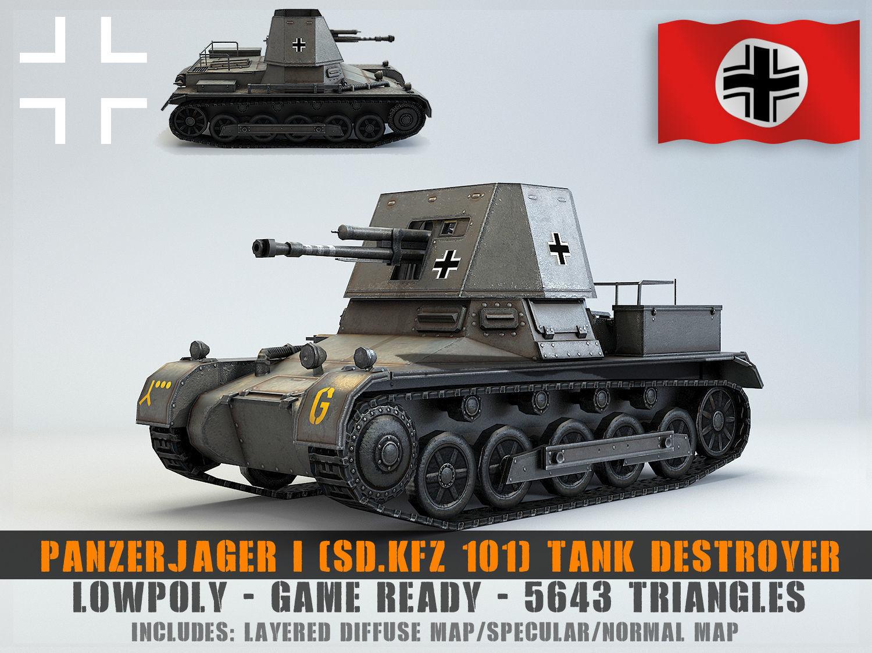 Low Poly  SdKfz 101 PanzerJager I Tank Destroyer