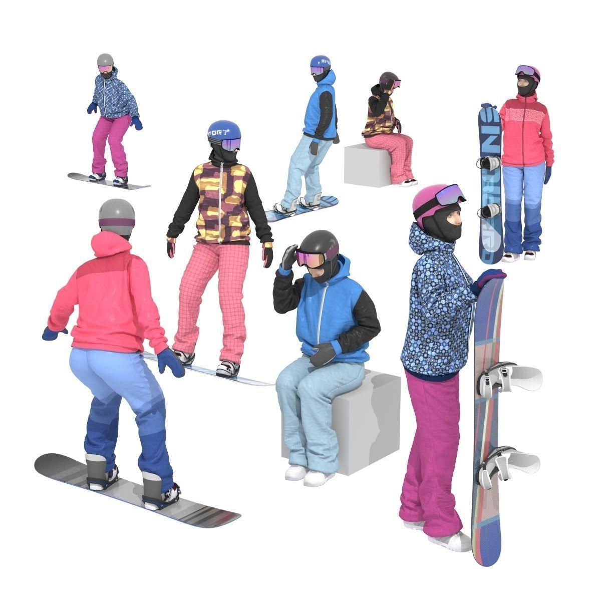 Snowboarder Girls 3D Model
