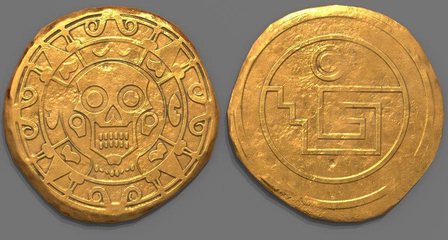 Aztec Design Gold Coin - Pirate Coin - Fantasy