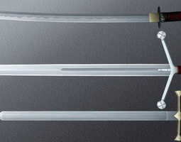 3d model game-ready hand-painted swords pack