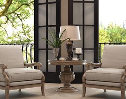 home interior design chairs table and lamp 3d