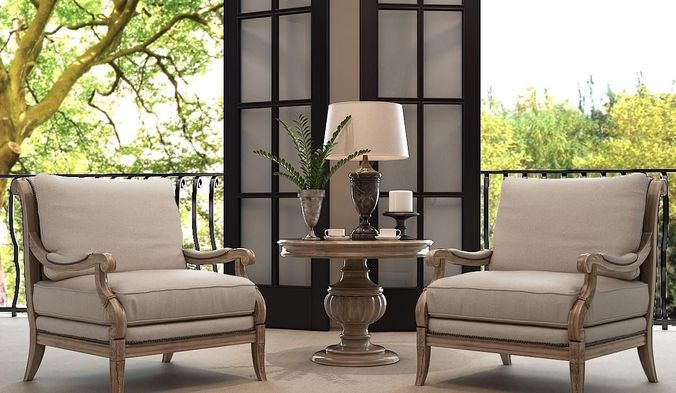 home interior design chairs table and lamp 3d model max 1