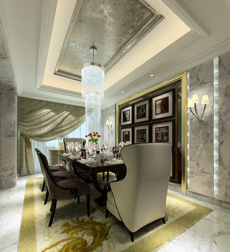 Model Luxury Home Interiors: 3D Model Luxury Dining Room