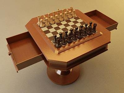 Chess Set with Table - Vray 3D model | CGTrader