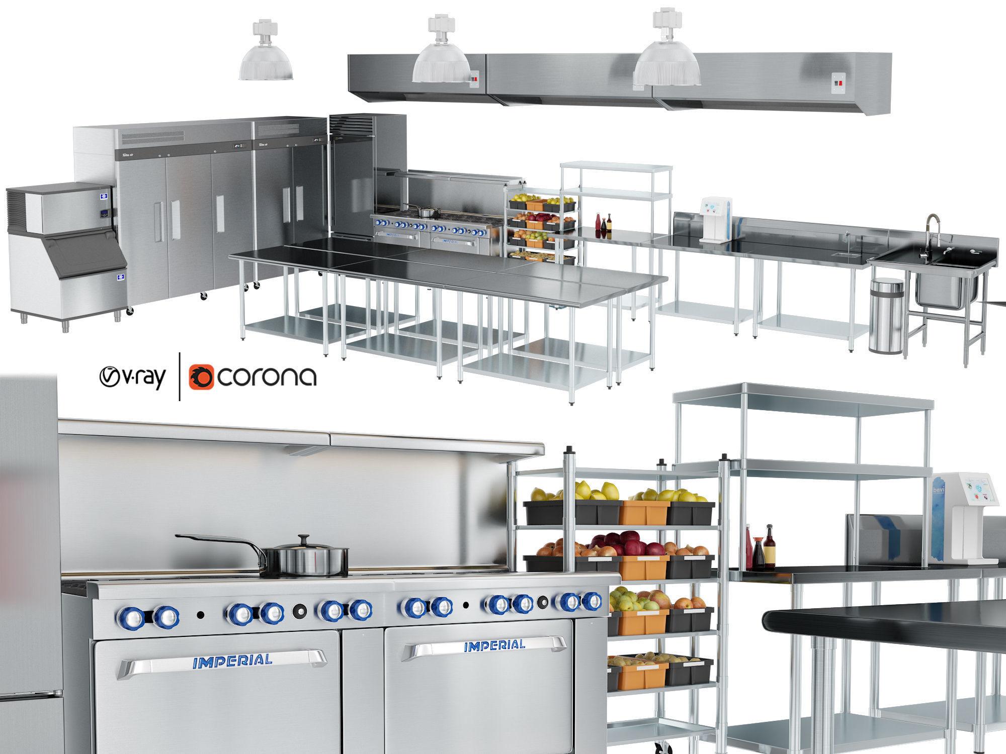 Restaurant cafe kitchen equipment with utensils