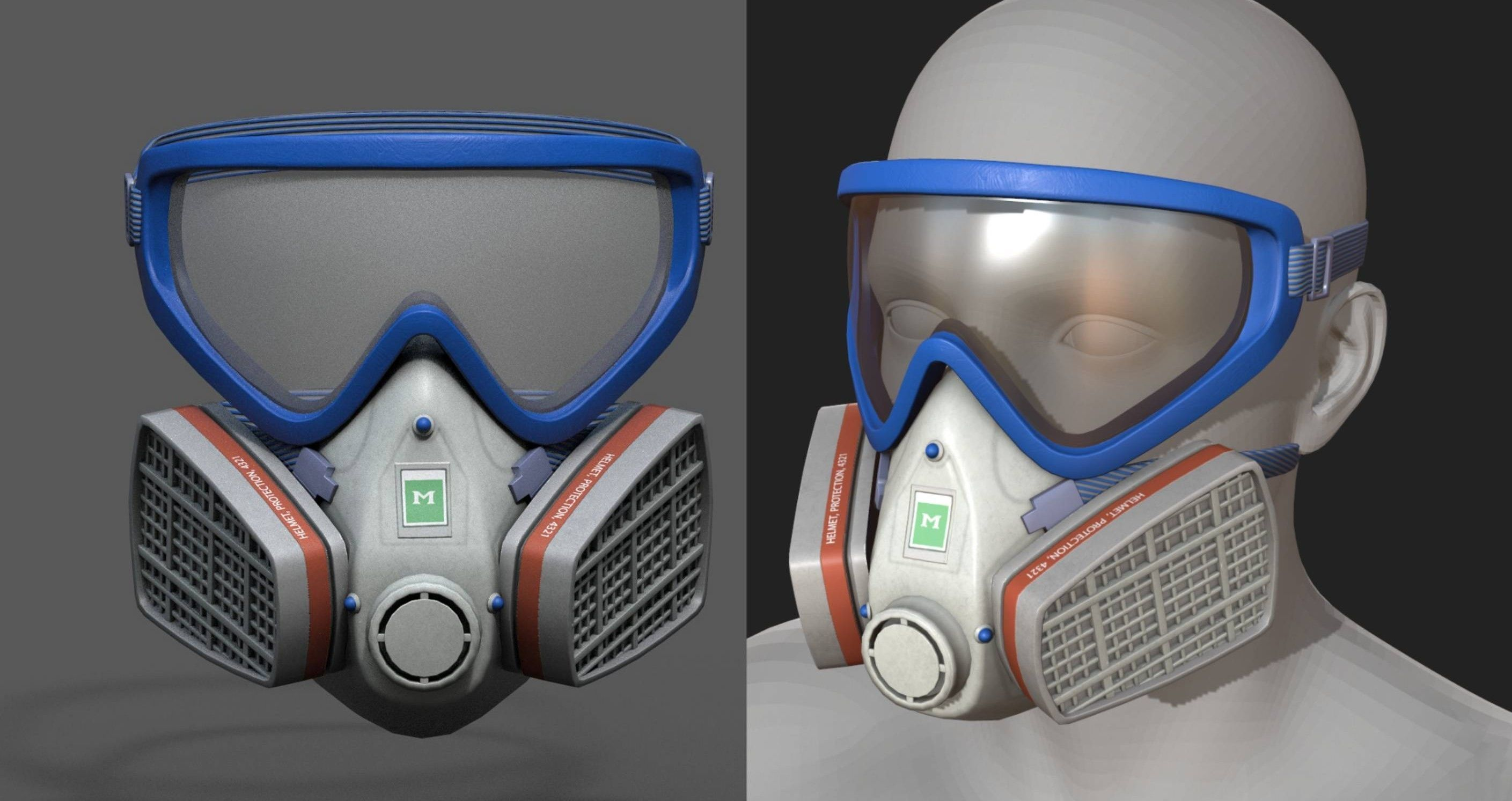 Gas mask helmet 3d safety isolated fantasy