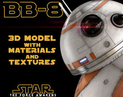 bb-8 star wars droid 3d model with materials and textures