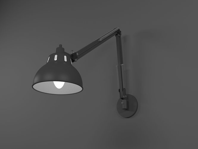 wall mounted office. Wall Mounted Office Lamp 3D Model I
