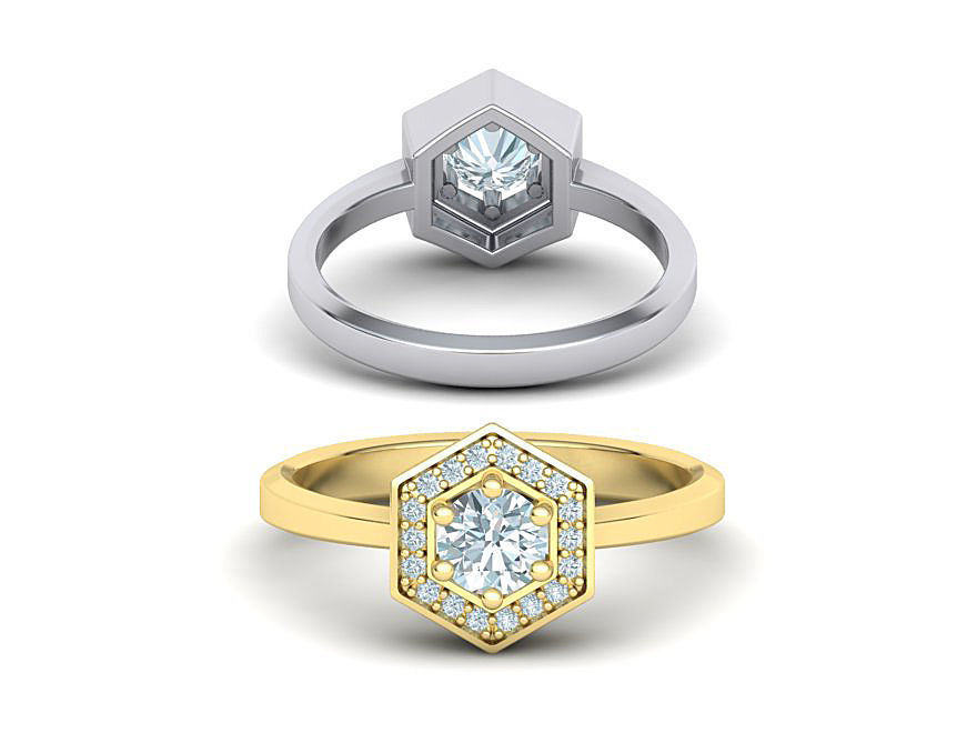 HEXAGON ENGAGEMENT RING 3dmodel