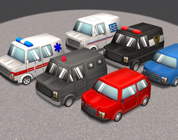 Cartoon Cars pack 1 3D asset