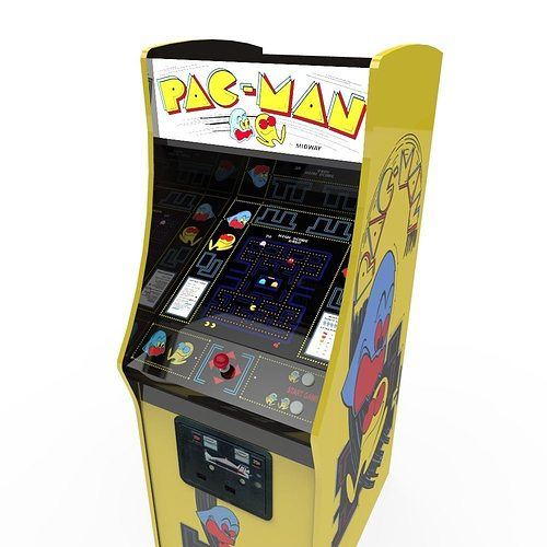 pacman arcade cabinet 3d model low-poly fbx ma mb 1