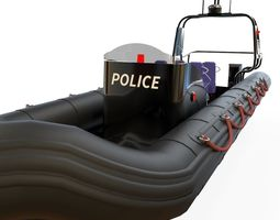 zodiac police boat VR / AR ready 3d asset