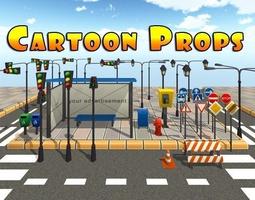 3D asset Cartoon Street Props