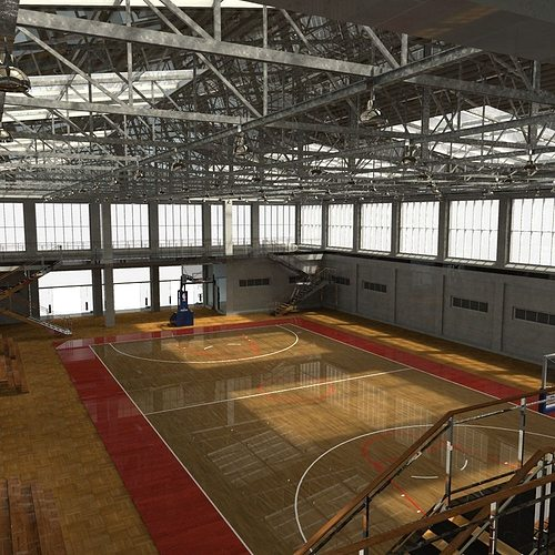 school basketball court 3d model fbx ma mb 1