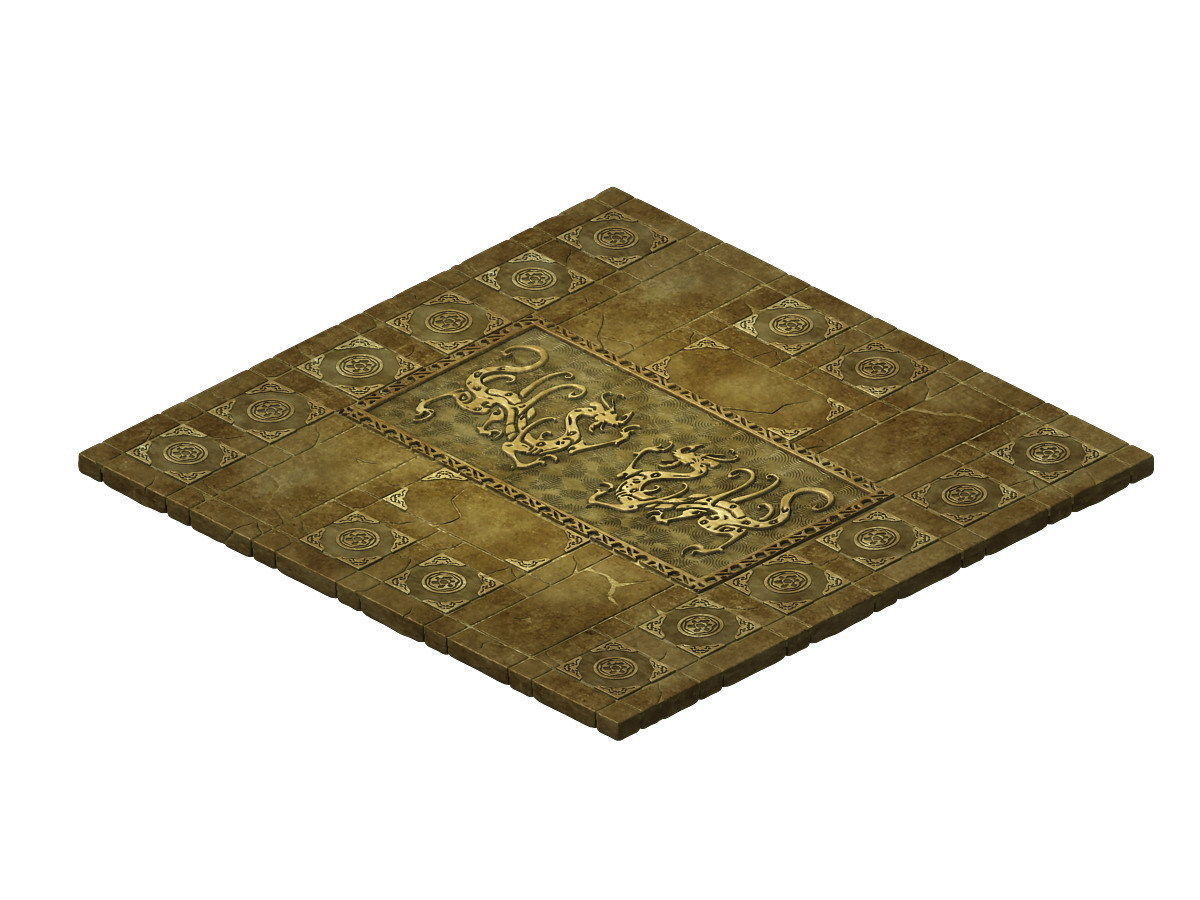 Game Model - stone carved ground surface 02