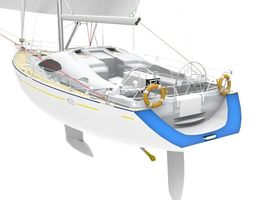 sailing Yacht 3D model game-ready