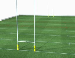 VR / AR ready 3d model rugby pitch