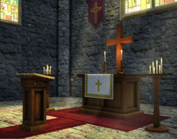 realtime church interior props 3d asset